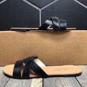 Womens Krush Asymmetric Sliders Black Sandals Sz 7